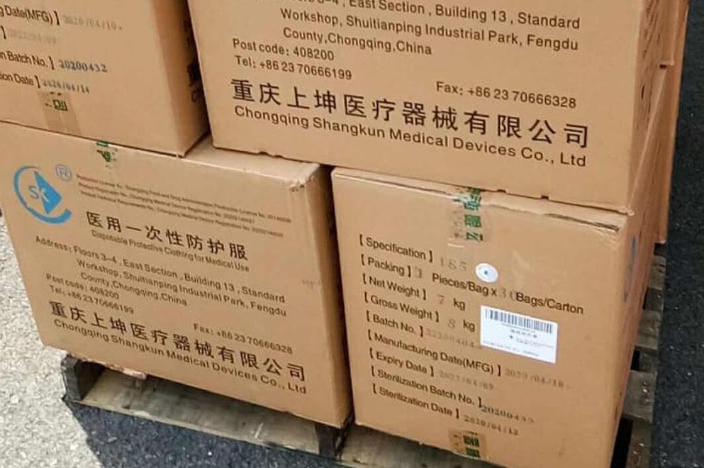 Una ciudad china donó material sanitario para la provincia de Córdoba