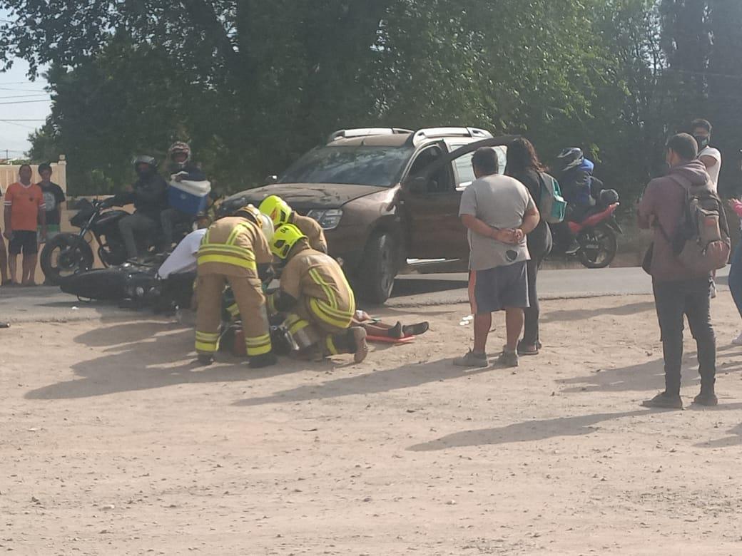 Otro choque en la ruta 28: un motociclista resultó herido