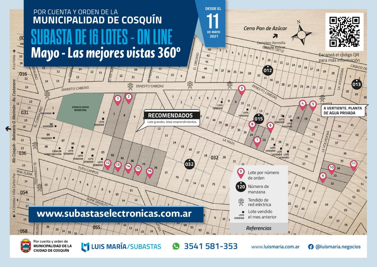 Subasta electrónica de loteo de Cosquín: ¿Cómo participar?