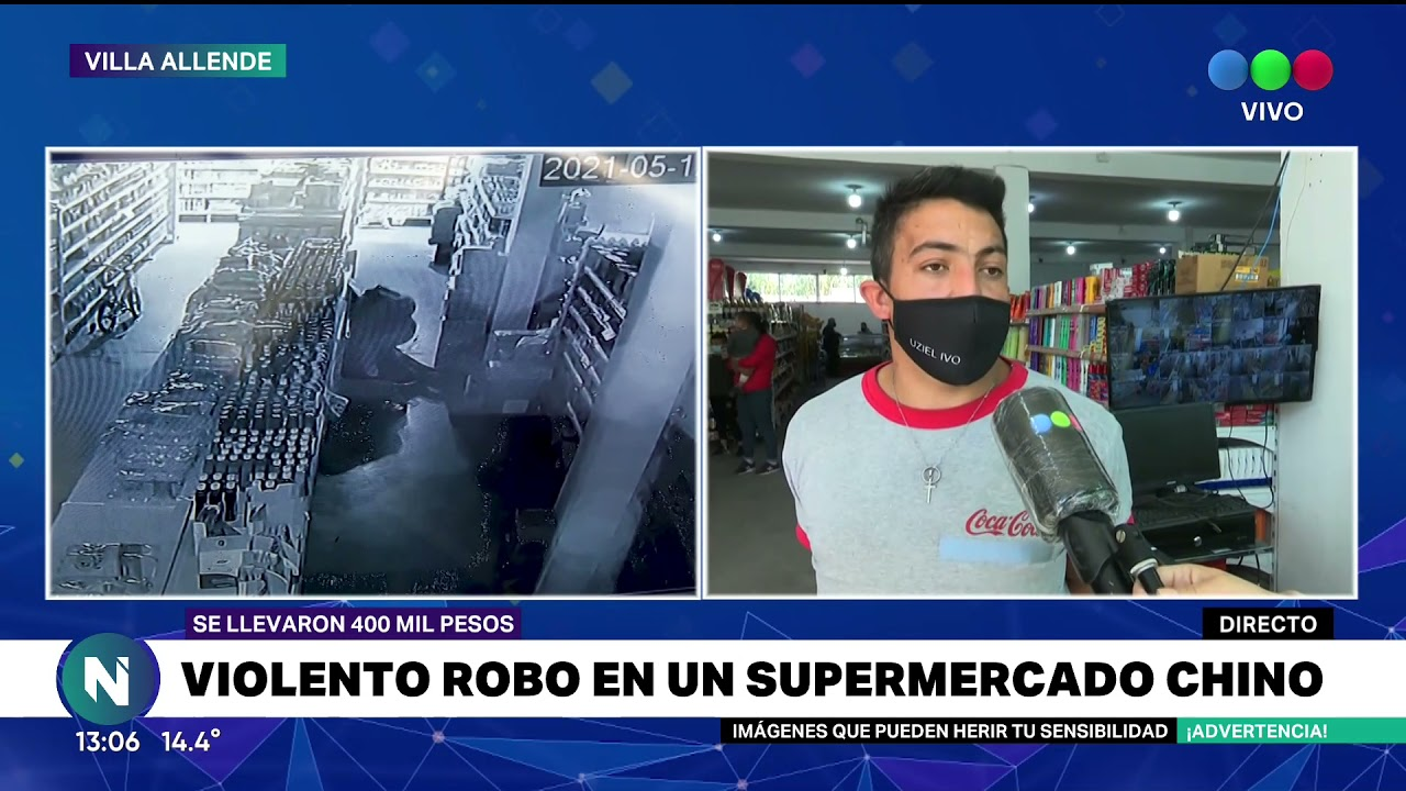 Violento robo a un super chino en Villa Allende (Video)